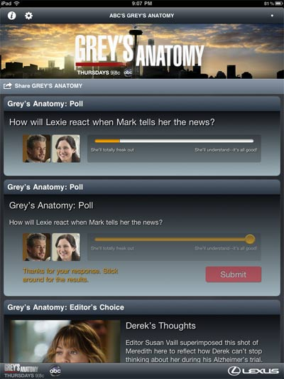 First Look: ABC's Grey's Anatomy Sync iPad App Review 3
