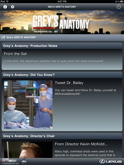 First Look: ABC's Grey's Anatomy Sync iPad App Review -