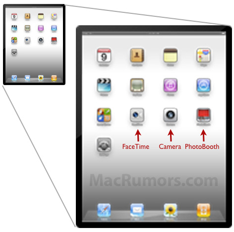 FaceTime, Camera and PhotoBooth Icons Confirm Camera in iPad 2